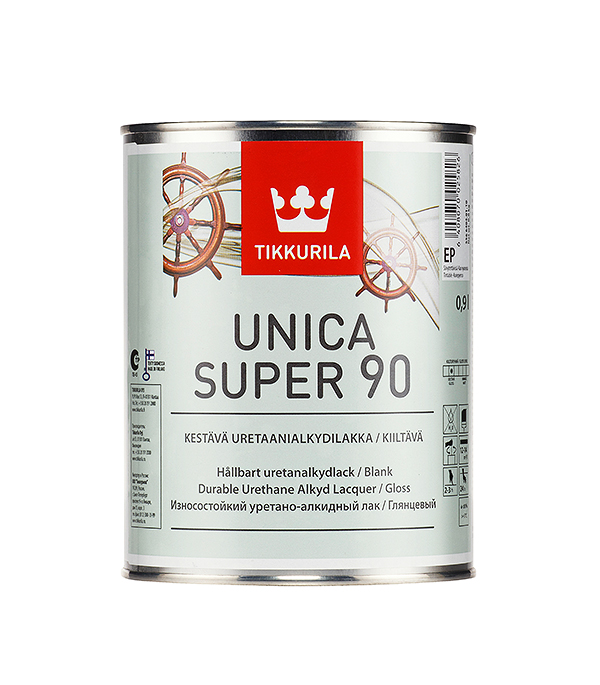 Лак яхтный Unica Super основа EP глянцевый Тиккурила 0,9 л