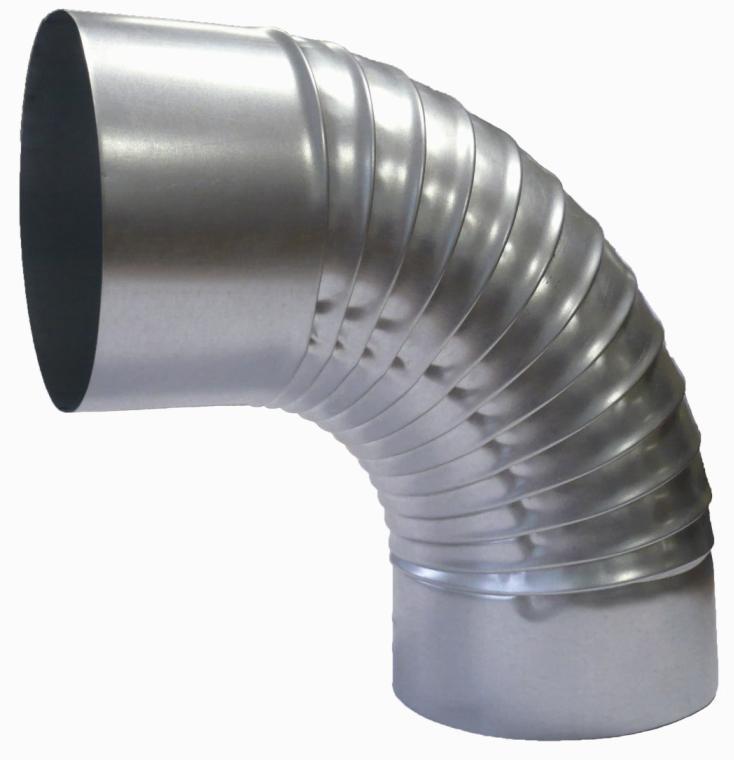 Отвод для круглых воздуховодов оцинкованный d125 мм на 90°