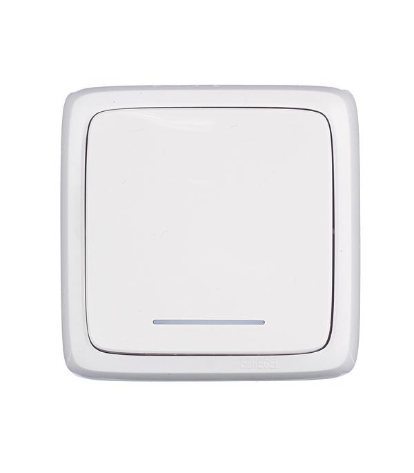 Выключатель одноклавишный HEGEL Slim о/у с индикацией белый цена и фото