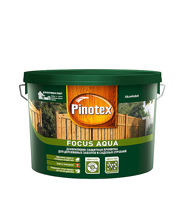 Пинотекс Focus Aqua антисептик зеленый лес 9 л