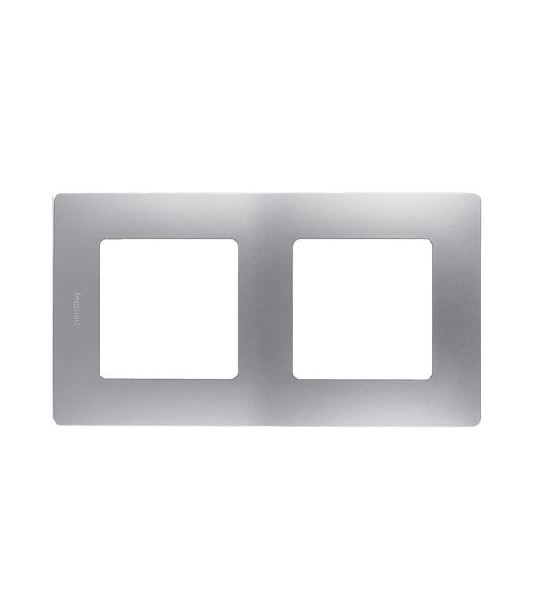 Рамка двухместная универсальная  Legrand Etika алюминий