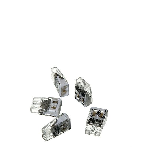 Зажим (клемма) на 2 провода (0,5-2,5 мм.кв) с пастой, (5 шт), Wago