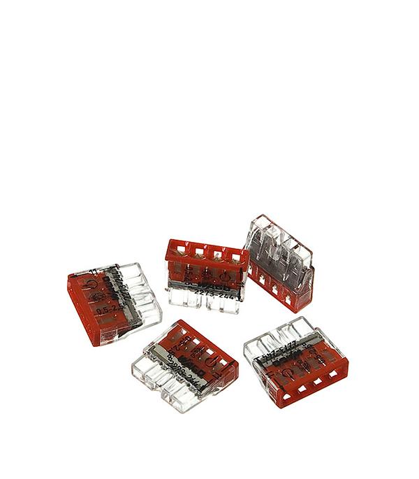 Зажим (клемма) на 4 провода (0,5-2,5 мм.кв) с пастой, (5 шт), Wago