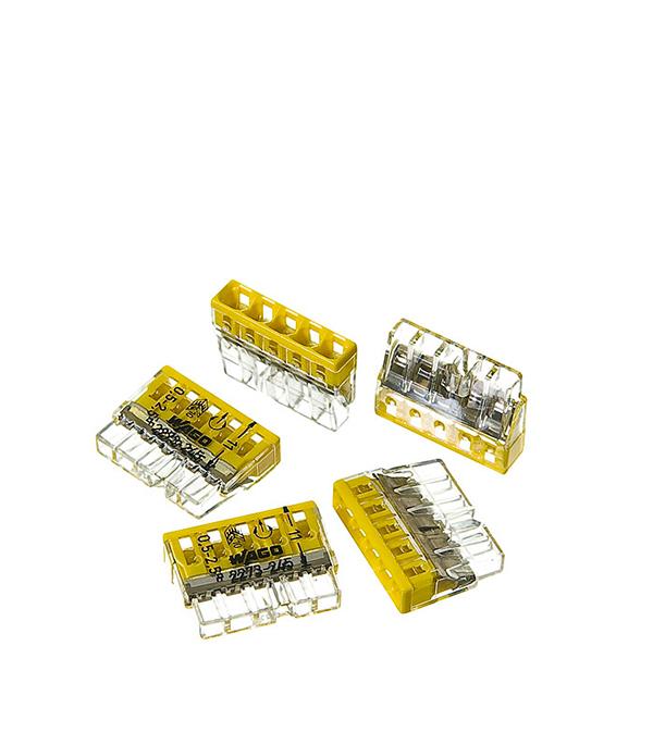 Зажим (клемма) на 5 провода (0,5-2,5 мм.кв) с пастой, (5 шт), Wago