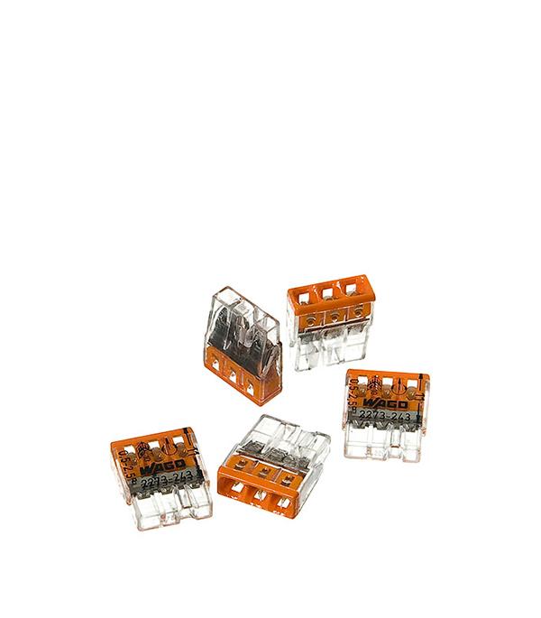 Зажим (клемма) на 3 провода (0,5-2,5 мм.кв) с пастой, (5 шт), Wago