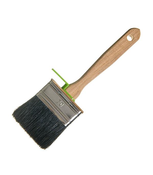 Кисть плоская  70х25 мм натуральная щетина деревянная ручка Лазурный берег Профи
