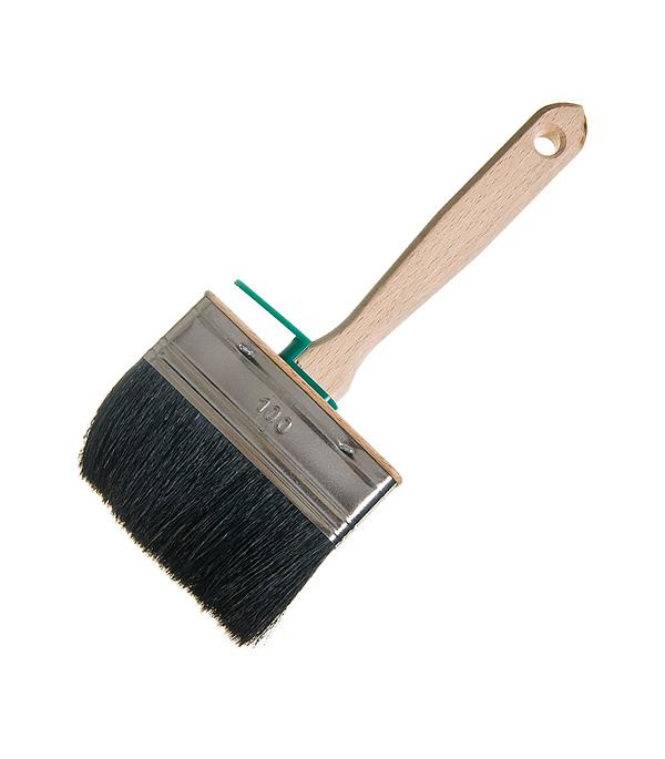 Кисть плоская 100х25 мм натуральная щетина деревянная ручка Лазурный берег Профи
