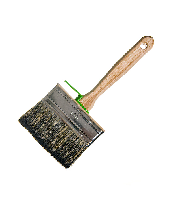 Кисть плоская 100х25 мм смешанная щетина деревянная ручка Лазурный берег Профи