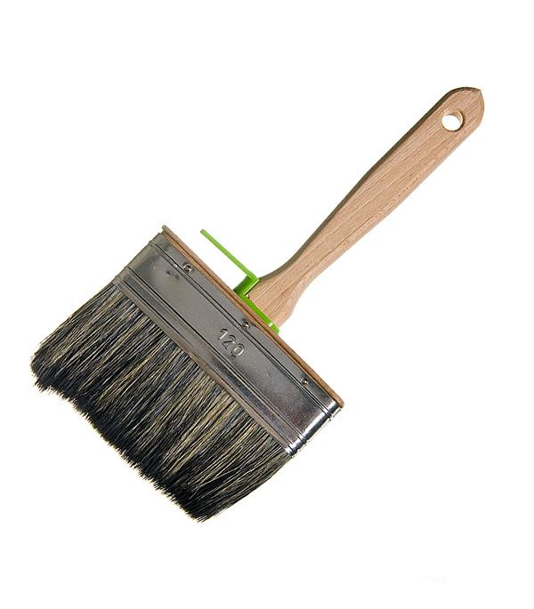 Кисть плоская 120х35 мм смешанная щетина деревянная ручка Лазурный берег Профи