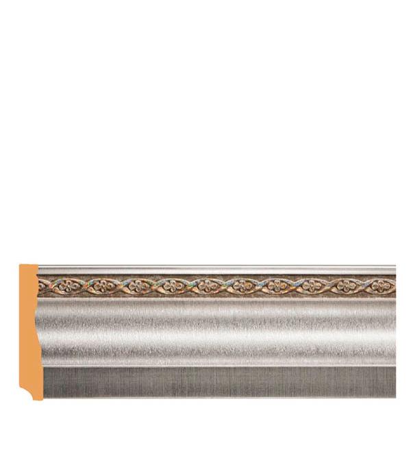 Напольный плинтус (молдинг) с к/к 95х12х2400 мм Decomaster серебристый металлик