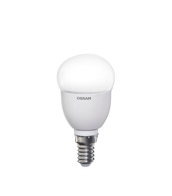 Лампа светодиодная E14, 5,5W, CLP40 (шар), 2700K (теплый свет), Osram