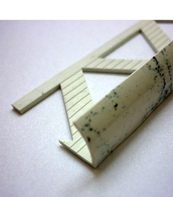 Уголок ПВХ для кафельной плитки наружный 9х2500мм белый мрамор