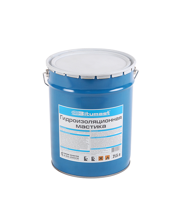 Мастика гидроизоляционная Bitumast 18 кг/21.5 л гидроизоляция акриловая bitumast 7 кг