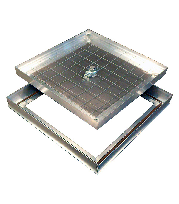 Люк ревизионный 200х200 мм напольный съемный алюминиевый Барьер Практика