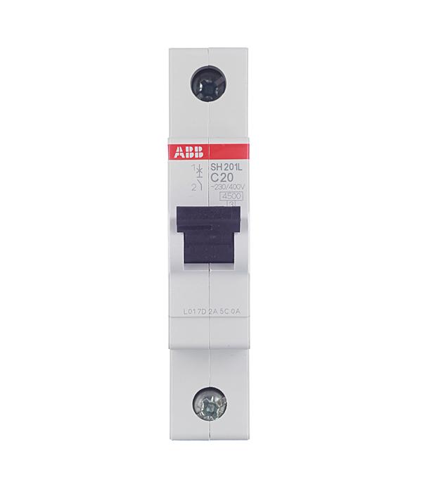 Автомат 1P 20А тип С 4.5 kA ABB SH201L дифференциальный автомат 1p n 16а тип c 30 ма 4 5 ka abb dsh941r