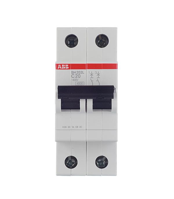 Автомат 2P 20А тип С 4.5 kA ABB SH202L дифференциальный автомат 1p n 16а тип c 30 ма 4 5 ka abb dsh941r