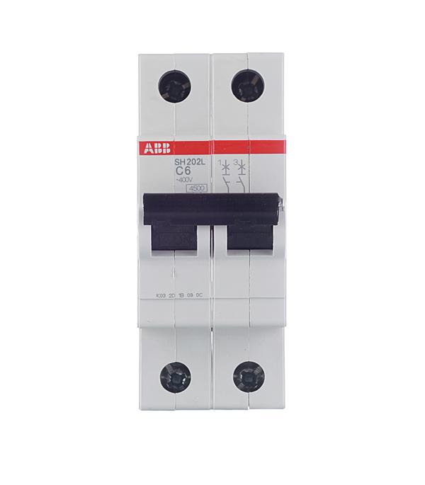 Автомат 2P 6А тип С 4.5 kA ABB SH202L дифференциальный автомат 1p n 16а тип c 30 ма 4 5 ka abb dsh941r