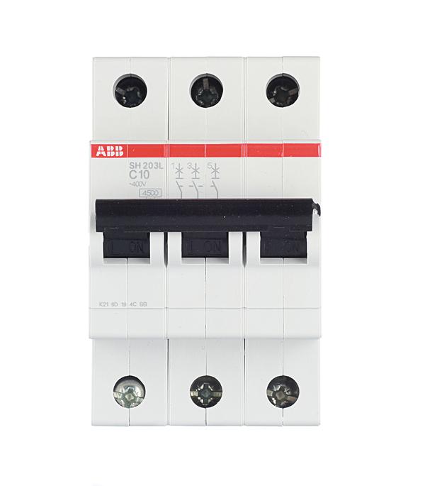 Автомат 3P 10А тип С 4.5 kA ABB SH203L дифференциальный автомат 1p n 16а тип c 30 ма 4 5 ka abb dsh941r