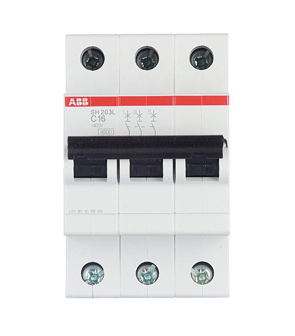 Автомат 3P, 16А, тип С, 4.5кА, ABB, SH203L