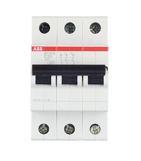 Автомат 3P, 20А, тип С, 4.5кА, ABB, SH203L