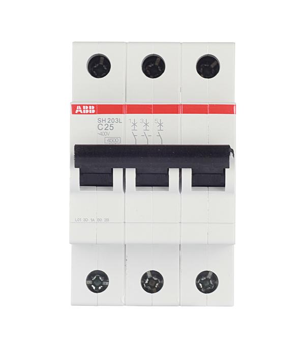Автомат 3P, 25А, тип С, 4.5кА, ABB, SH203L
