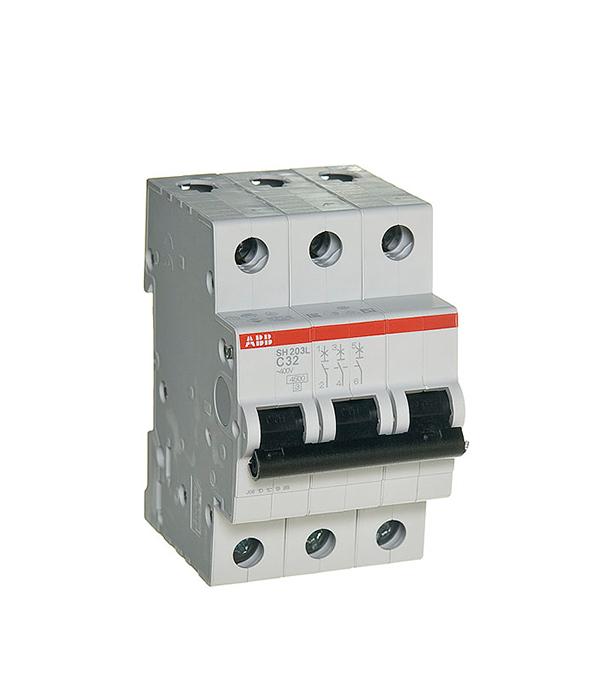 Автомат 3P 32А тип С 4.5 kA ABB SH203L дифференциальный автомат 1p n 16а тип c 30 ма 4 5 ka abb dsh941r