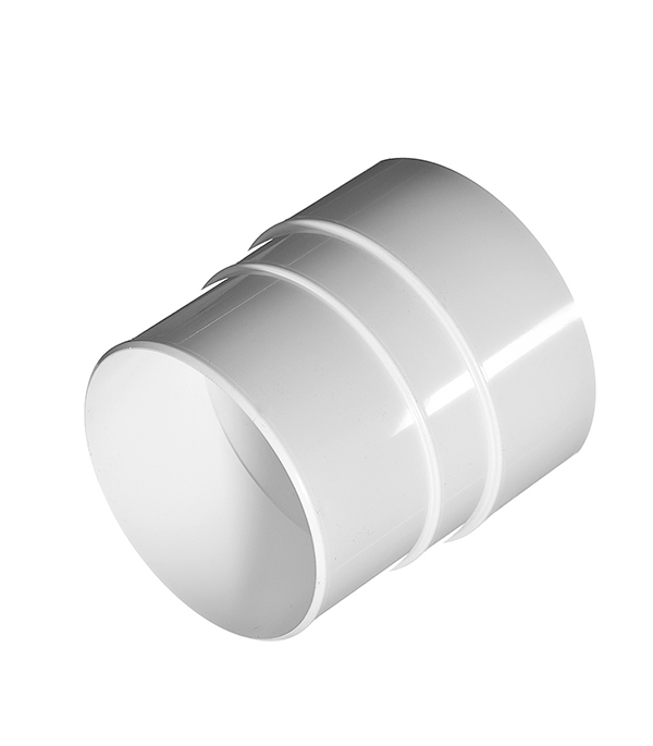 Муфта водосточной трубы (соединительная) пластиковая d90 мм белая VINYL-ON