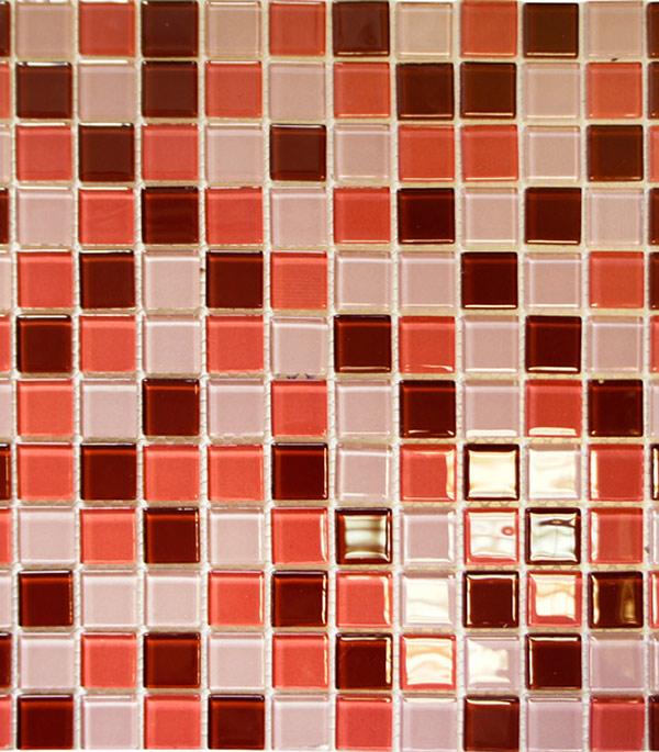 Мозаика стеклянная 327х327х4 мм шоколадно-малиновый микс на сетке (10 шт = 1,07 кв.м)