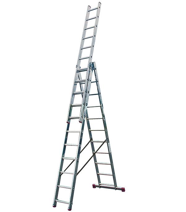Лестница 3-х секционная универсальная Krause 3х11 лестница алюминиевая 3 х секционная 9 ступеней в спб