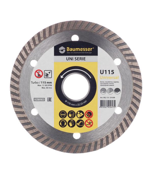 Диск алмазный турбо по бетону 115x1.8x8x22(23) Baumesser диск алмазный турбо с лазерной перфорацией 230х22 2 мм gross 73034