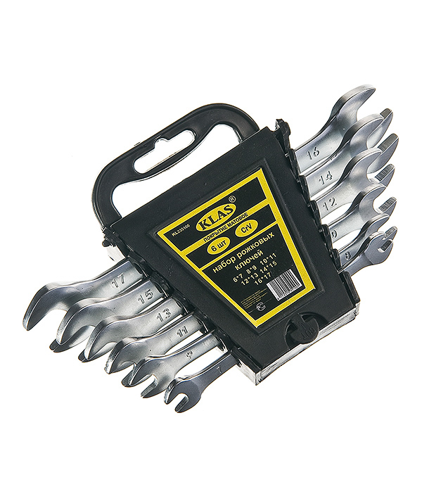 Ключ рожковый плоский набор 6 шт (6-17 мм) (St) CrV Klas