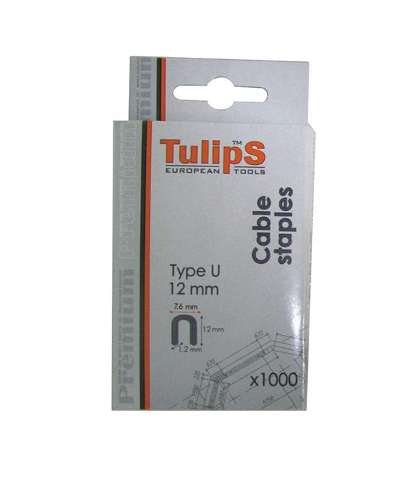 Скобы для степлера 12 мм, тип 36 (7,6х1,2) U-образные, 1000 шт Tulips