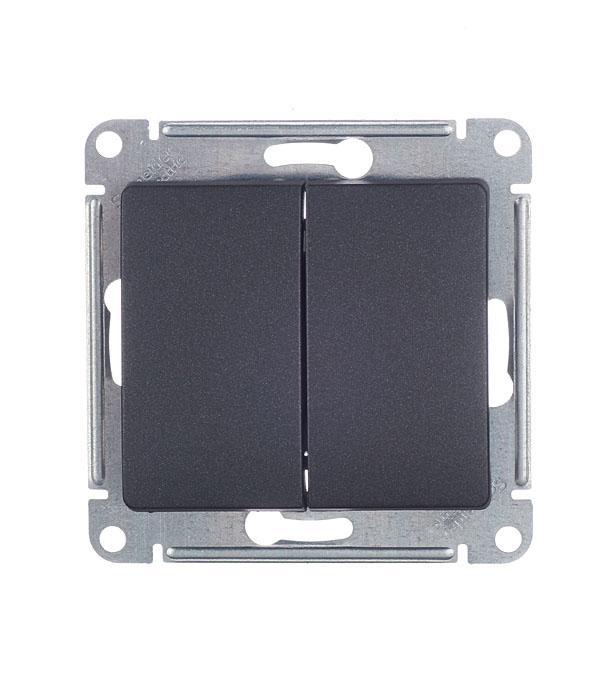 Механизмвыключателядвухклавишногос/уSchneiderElectricGlossaантрацит механизм выключателя schneider electric glossa белый 1 клавишный с подсветкой gsl000113