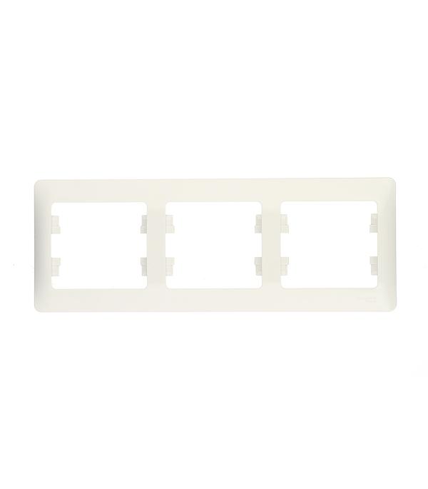 Рамка трехместная Schneider Electric Glossa белая