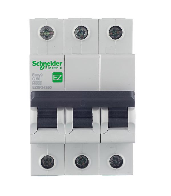 Автомат 3P 50А тип С 4.5 kA Schneider Electric Easy9 шина schneider electric нулевая 14 групп крепеж по центру сечение 6x9 32003dek