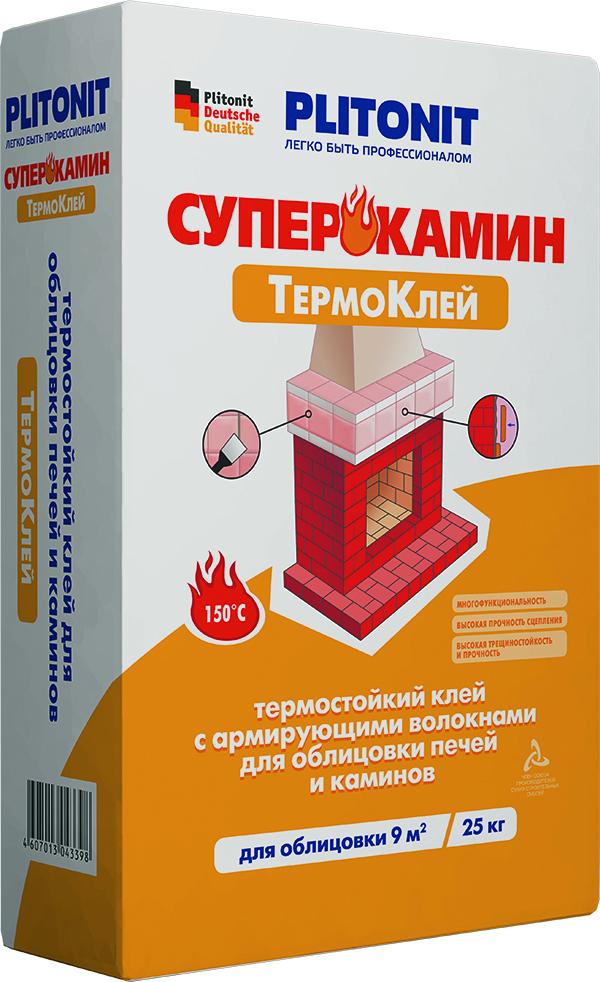 Плитонит СуперКамин ТермоКлей ВТ(клей для облицовки печей и каминов), 25кг