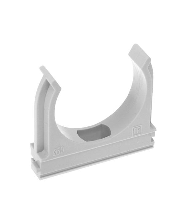 Крепеж-клипса для труб 32 мм (10 шт) держатель с защелкой для труб экопласт d32 мм 10 шт