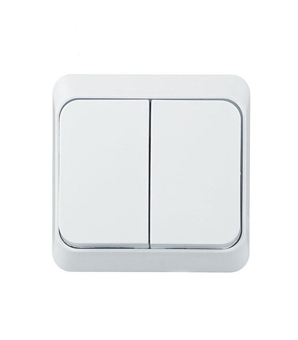 Выключатель двухклавишный Этюд о/у белый выключатель одноклавишный legrandquteo о у влагозащищенный ip 44 белый