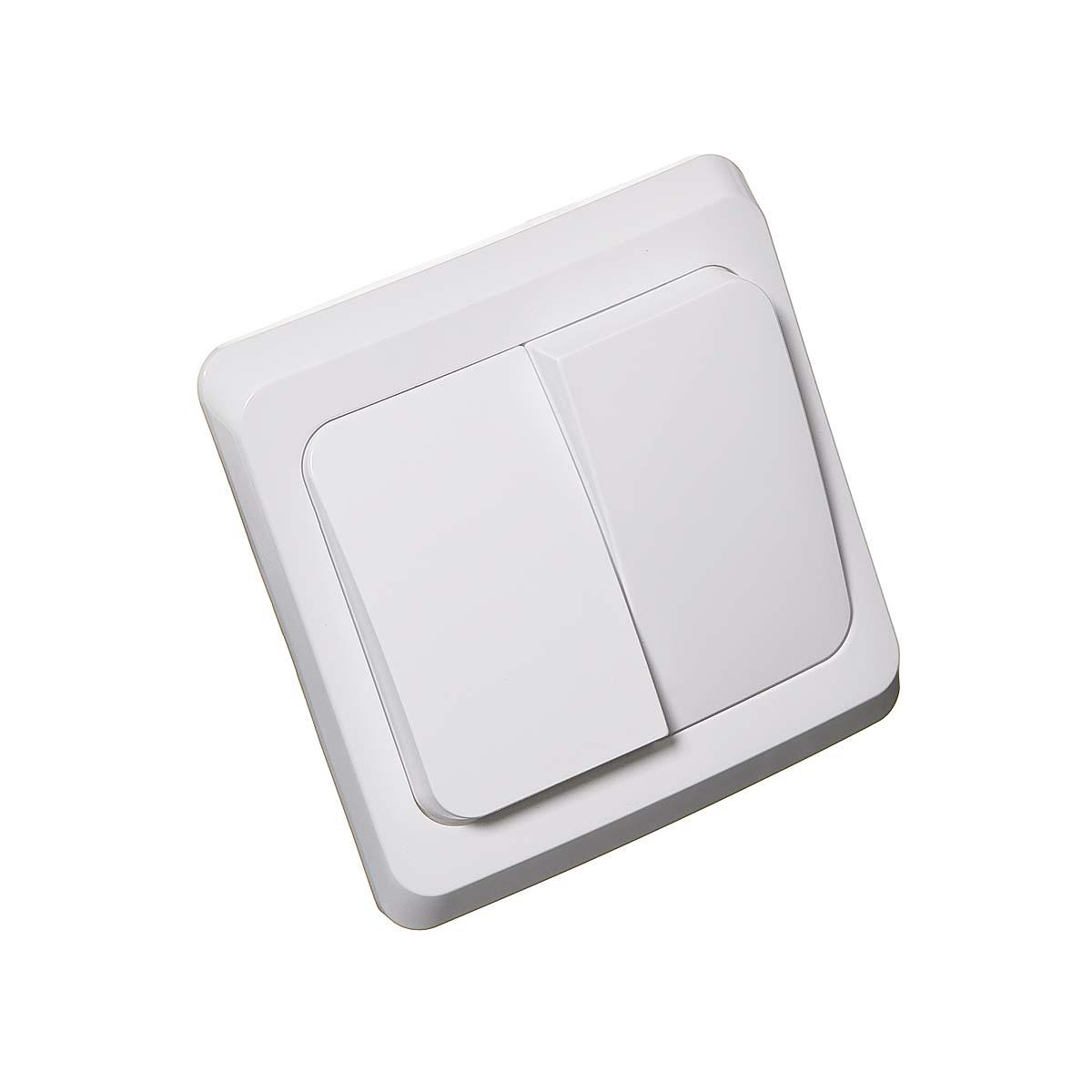 Выключатель двухклавишный с/у Этюд белый