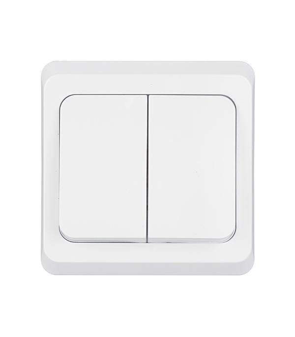 Выключатель двухклавишный Этюд с/у белый выключатель двухклавишный наружный бежевый 10а quteo