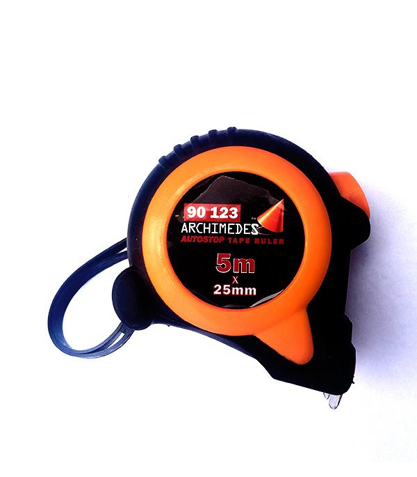 Рулетка Archimedes автостоп 5 м х 25 мм канат хозяйственный archimedes 92702