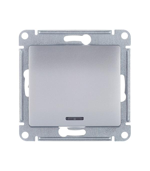 Механизмвыключателяoдноклавишногос/усподсветкойSchneiderElectricGlossaалюминий механизм выключателя schneider electric glossa белый 1 клавишный с подсветкой gsl000113