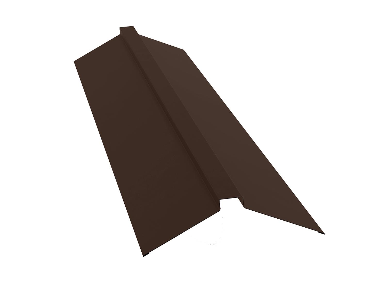 Конек для металлочерепицы плоский с пазом, 2м коричневый RAL 8017