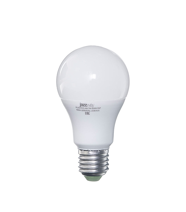 Лампа светодиодная E27 7W A60 5000K Jazzway