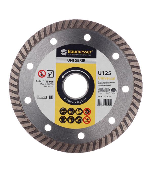 Диск алмазный турбо по бетону 125x1.8x8x22(23) Baumesser диск алмазный турбо с лазерной перфорацией 230х22 2 мм gross 73034