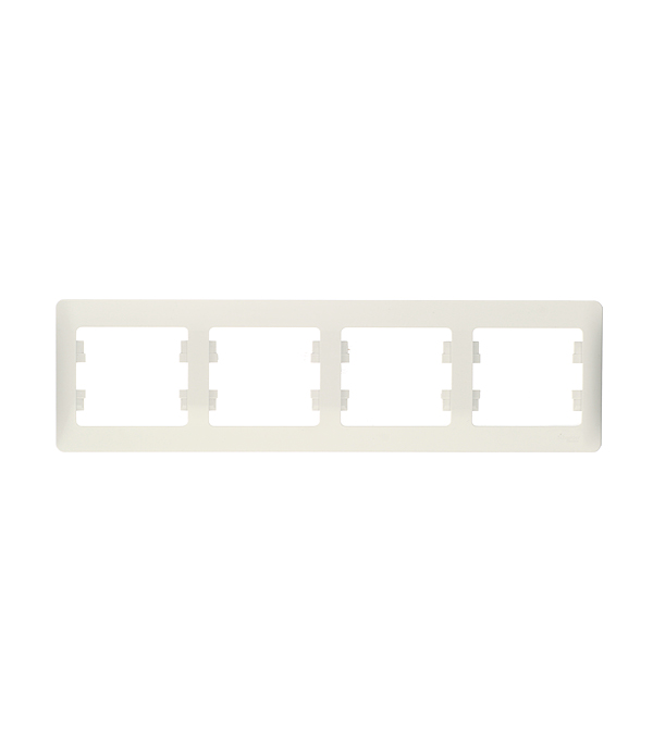 Рамка четырехместная Schneider Electric Glossa белая механизм выключателя schneider electric glossa белый 1 клавишный с подсветкой gsl000113
