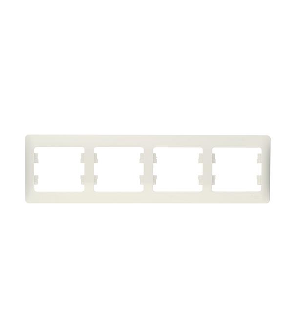 Рамка четырехместная Schneider Electric Glossa белая
