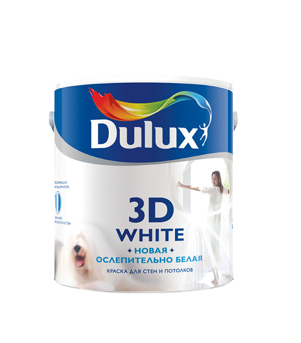 Краска в/д Новая ослепительно белая 3D White основа BW Dulux 2,5 л