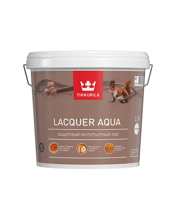 Лак водоразбавляемый Lacquer Aqua основа EP матовый Тиккурила 2,7 л