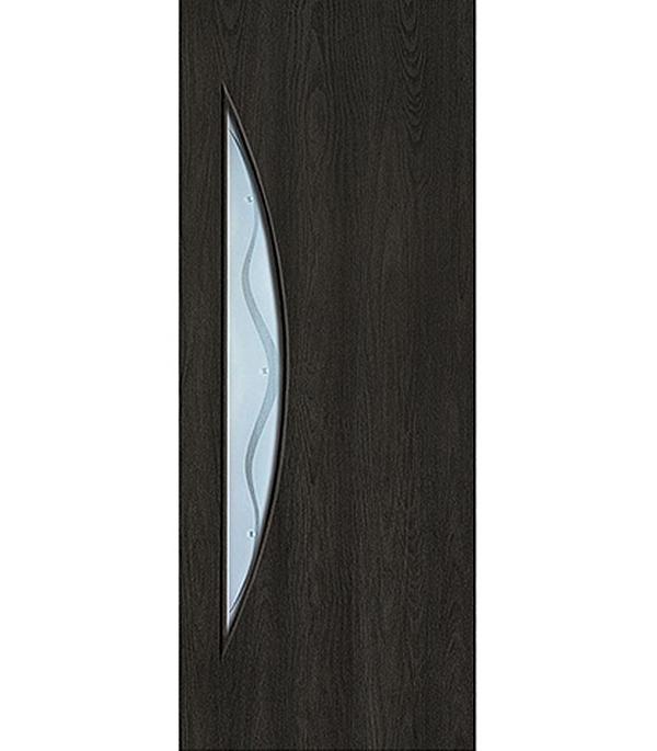 Дверное полотно с 3D покрытием Луна Седой венге 800х2000 мм, со стеклом